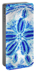 Portable Battery Charger featuring the painting Sand Dollar by Monique Faella