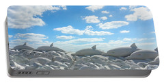 Sand Dolphins At Siesta Key Beach Portable Battery Charger