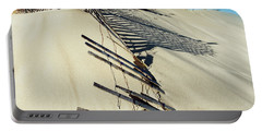 Sand Dune Fences And Shadows Portable Battery Charger by Gary Slawsky