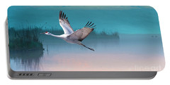 Sandhill Crane And Misty Marshes Portable Battery Charger