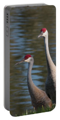 Sandhill Crane Couple By The Pond Portable Battery Charger