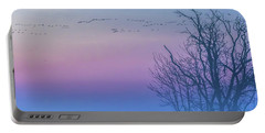 Sandhill Crane Flyover At Sunrise Portable Battery Charger