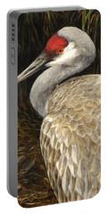 Portable Battery Charger featuring the painting Sandhill Crane - Realistic Bird Wildlife Art by Karen Whitworth