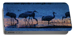 Sandhill Cranes At Twilight Portable Battery Charger