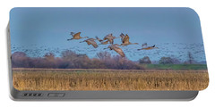 Sandhill Cranes Flying At Sunset Portable Battery Charger