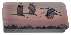 Sandhill Cranes In Flight Portable Battery Charger