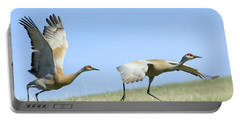 Sandhill Cranes Taking Flight Portable Battery Charger