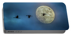 Sandhill Cranes With Full Moon Portable Battery Charger