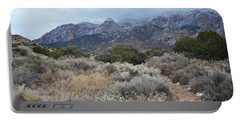 Sandia Mountains Storm Winter Landscape Portable Battery Charger by Andrea Hazel Ihlefeld