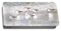 Sandpipers On Siesta Key Portable Battery Charger by Shawn McLoughlin