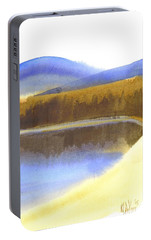 Portable Battery Charger featuring the painting Sandy Blue Dusky Mountain Lake by Kip DeVore
