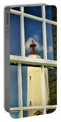 Portable Battery Charger featuring the photograph Sandy Hook Lighthouse Reflection by Gary Slawsky