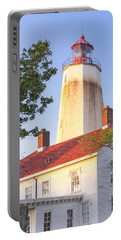 Sandy Hook Lighthouse Square Portable Battery Charger by Marianne Campolongo