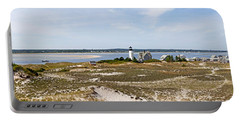 Sandy Neck Lighthouse With Fishing Boat Portable Battery Charger