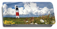 Portable Battery Charger featuring the painting Sankaty Head Lighthouse by Christopher Arndt