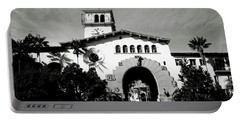 Santa Barbara Courthouse Black And White-by Linda Woods Portable Battery Charger by Linda Woods