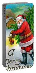 Santa Carrying A Christmas Tree Portable Battery Charger