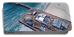 Santa Monica Pier From Above Side Portable Battery Charger by Andrew Mason