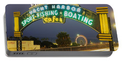 Santa Monica Pier Sign Santa Monica Ca Portable Battery Charger by Panoramic Images