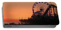 Santa Monica Sunset Portable Battery Charger by Suzanne Oesterling