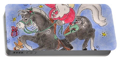 Portable Battery Charger featuring the pastel Santa Ride by Vonda Lawson-Rosa