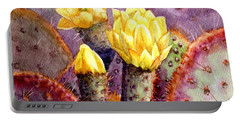 Portable Battery Charger featuring the painting Santa Rita Prickly Pear Cactus by Marilyn Smith