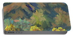 Portable Battery Charger featuring the painting Santa Rosa Mountains And Brittle Bush by Diane McClary