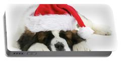 Santa's Snoozing Saint Bernard Portable Battery Charger