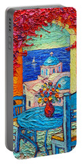 Santorini Dream Greece Contemporary Impressionist Palette Knife Oil Painting By Ana Maria Edulescu Portable Battery Charger
