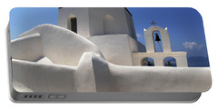 Portable Battery Charger featuring the photograph Santorini Greece Architectual Line 4 by Bob Christopher