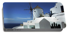 Portable Battery Charger featuring the photograph Santorini Greece Architectual Line 5 by Bob Christopher