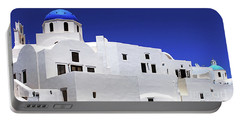 Portable Battery Charger featuring the photograph Santorini Greece Architectual Line 6 by Bob Christopher