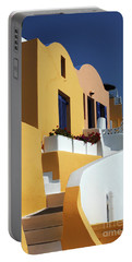 Portable Battery Charger featuring the photograph Santorini Greece Architectual Line by Bob Christopher