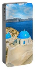 Santorini Oia Church Caldera View Digital Painting Portable Battery Charger
