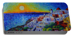 Santorini Oia Sunset Modern Impressionist Impasto Palette Knife Oil Painting By Ana Maria Edulescu Portable Battery Charger