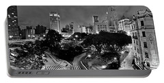 Sao Paulo Downtown At Night In Black And White - Correio Square Portable Battery Charger