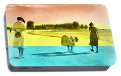 Portable Battery Charger featuring the painting Sarasota Series Beachcombers by Edward Fielding
