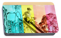 Portable Battery Charger featuring the painting Sarasota Series Trailer Park Playground by Edward Fielding