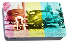 Portable Battery Charger featuring the painting Sarasota Series Wash The Car by Edward Fielding