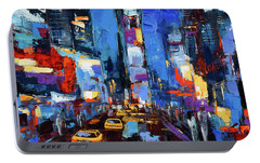 Saturday Night In Times Square Portable Battery Charger by Elise Palmigiani