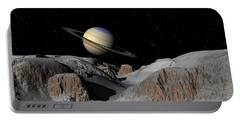Saturn From The Moon Dione Portable Battery Charger