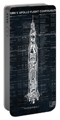 Saturn V Apollo Moon Mission Rocket Blueprint  1967 Portable Battery Charger by Daniel Hagerman