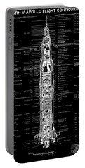 Saturn V Apollo Moon Rocket Blackprint  1967 Portable Battery Charger by Daniel Hagerman