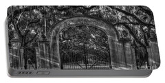 Portable Battery Charger featuring the photograph Savannah's Wormsloe Plantation Gate Bw Live Oak Alley Art by Reid Callaway