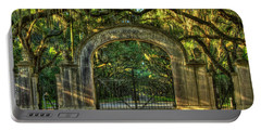Portable Battery Charger featuring the photograph Savannah's Wormsloe Plantation Gate Live Oak Alley Art by Reid Callaway