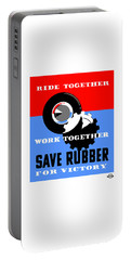 Portable Battery Charger featuring the mixed media Save Rubber For Victory - Wpa by War Is Hell Store