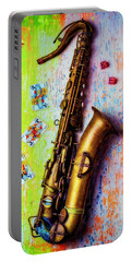 Sax And Old Playing Cards Portable Battery Charger