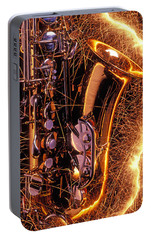 Sax With Sparks Portable Battery Charger by Garry Gay