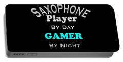 Saxophone Player By Day Gamer By Night 5623.02 Portable Battery Charger by M K  Miller