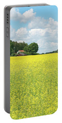 Scandinavian Summer Landscape With Yellow Meadow Portable Battery Charger